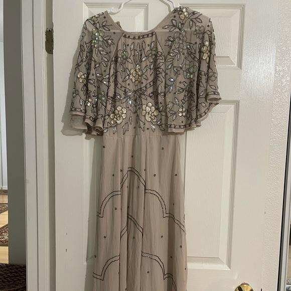 ASOS Maxi Dress Tan Beaded Chiffon Web Sleeve